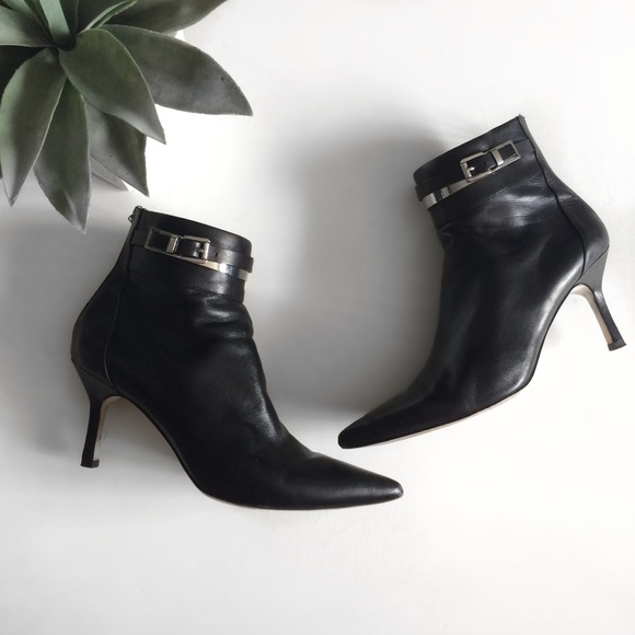 Michael Kors Shoes - Michael Kors Black Leather Ankle Heeled Booties